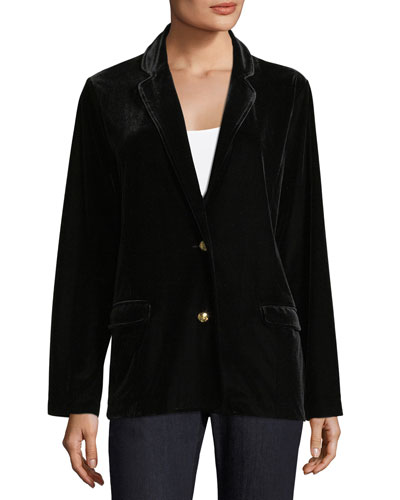 Stretch-Velvet Two-Button Blazer  Petite