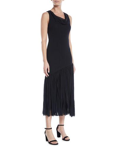 Fringe-Bottom Sleeveless Dress