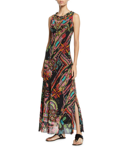 Cross-Stitch Mirror Collage Embroidered Maxi Dress