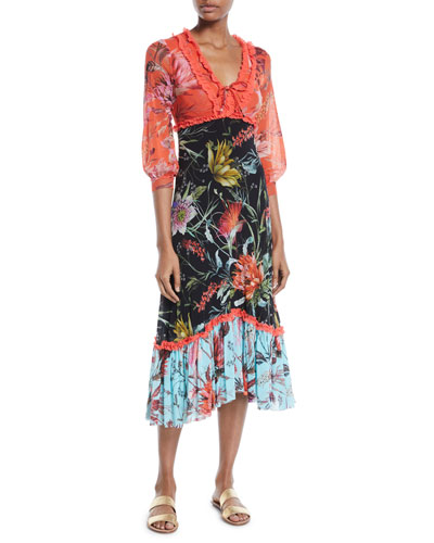 Floral Patchwork V-Neck Ruffle Dress