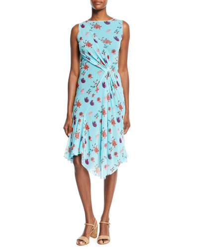 Botanical Floral-Print Side-Shirred Dress