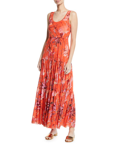 Botanical Tiered Tulle Maxi Dress