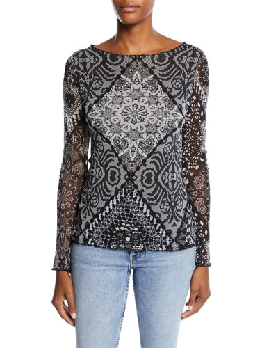 Stampa Crochet Sequined Top