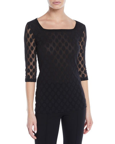 Dotted 3/4-Sleeve Top
