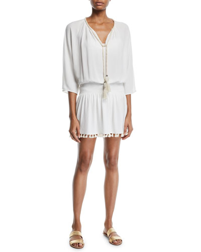 Katana 3/4-Sleeve Fringe Coverup Dress