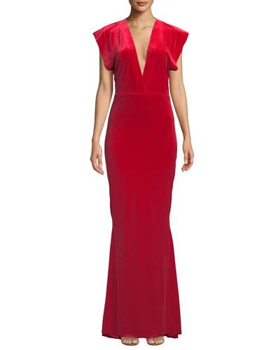 V-Neck Velvet Rectangle Gown