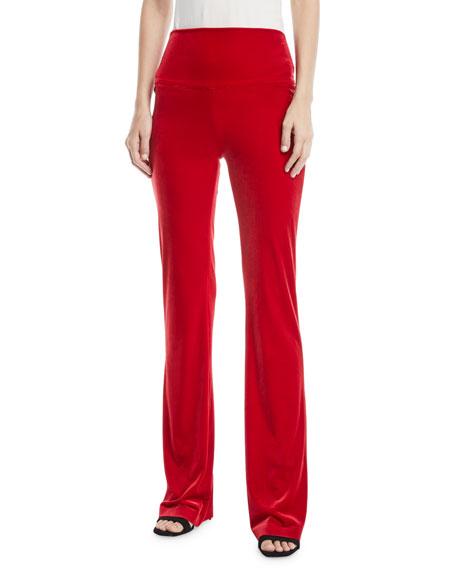 Norma Kamali Velvet Pull-On Boot Pants, Tango