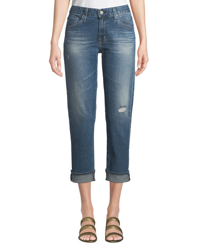 Ex-Boyfriend Mid-Rise Slim Crop Distressed Jeans