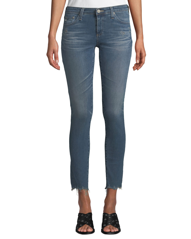 bdd6b0bcfdbb AG Adriano GoldschmiedThe Legging Super Skinny Ankle Jeans w/ Chewed Hem