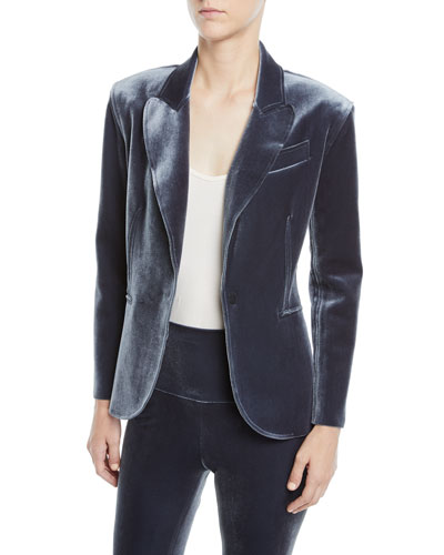 Velvet Single-Breasted Jacket, Pewter