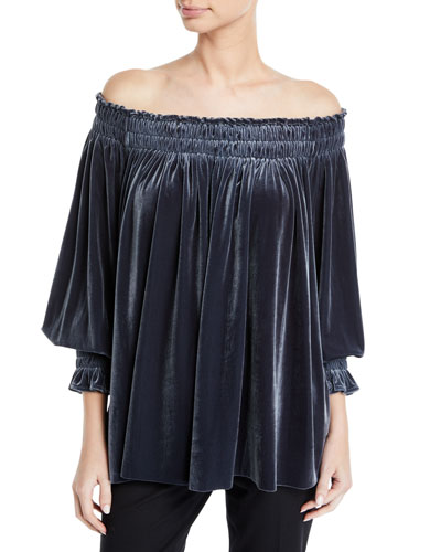 Velvet Peasant Top, Pewter