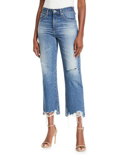 Rhett Distressed High-Rise Straight-Leg Jeans