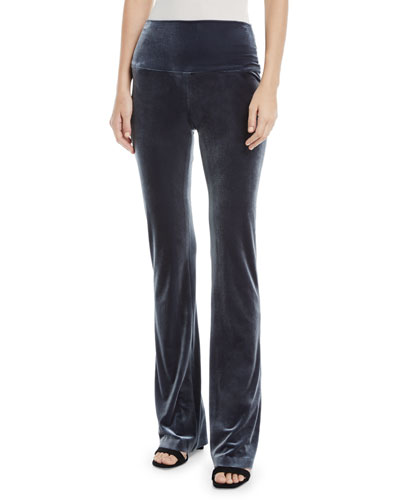 Velvet Pull-On Boot Pants, Pewter