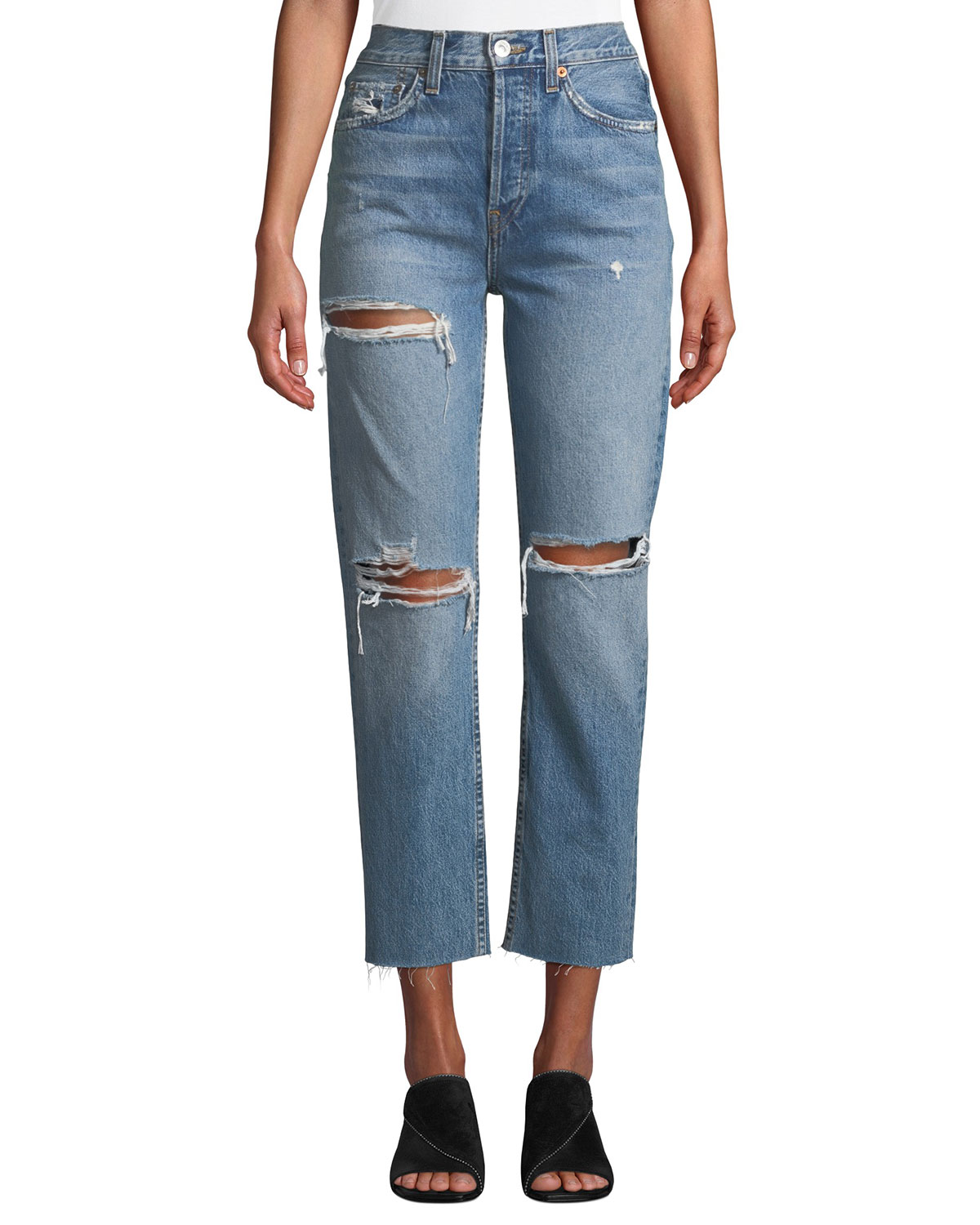 80c315d14c30 RE DONE High-Rise Distressed Cropped Stovepipe Jeans