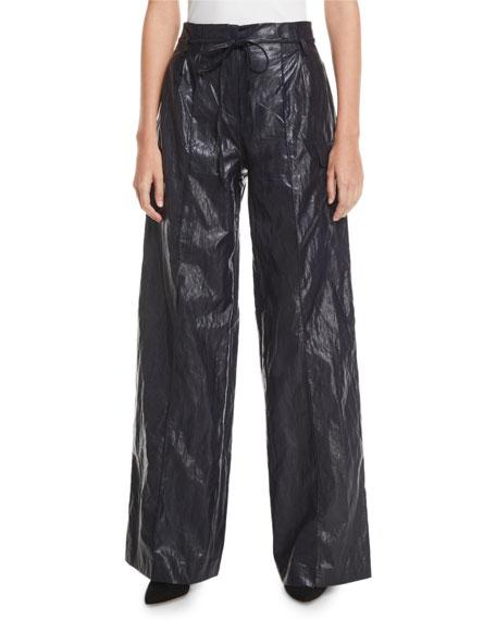 REJINA PYO Eve High-Rise Crinkle Wide-Leg Pants
