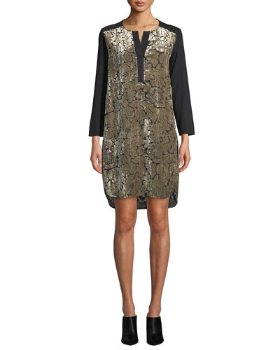 Long-Sleeve Floral Velvet Brocade Dress