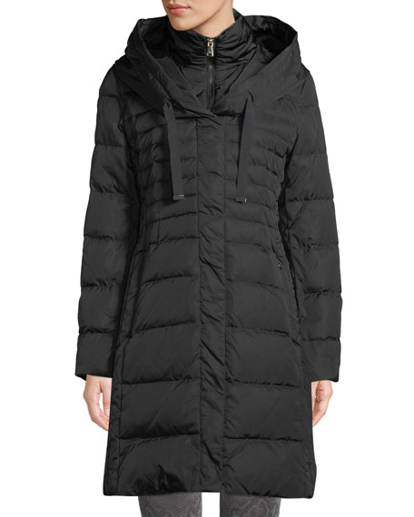 Tahari MIA LONG PUFFER COAT W/ BIB