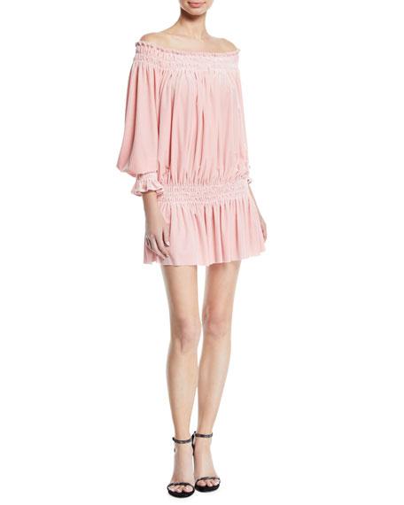 Norma Kamali Mini Velvet Peasant Dress, Dusty Pink