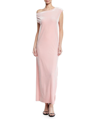Velvet Drop-Shoulder Dress, Dusty Pink