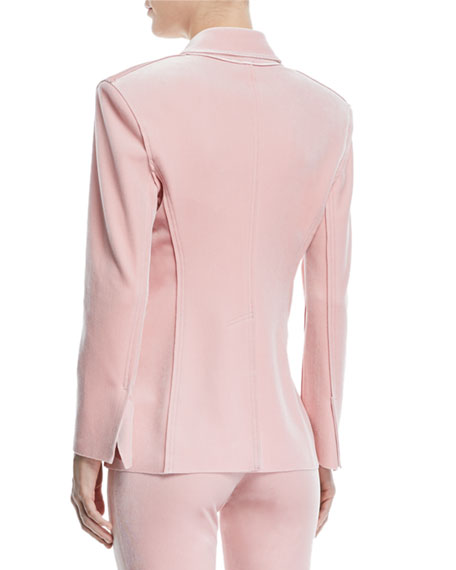 Velvet Double-Breasted Jacket, Dusty Pink