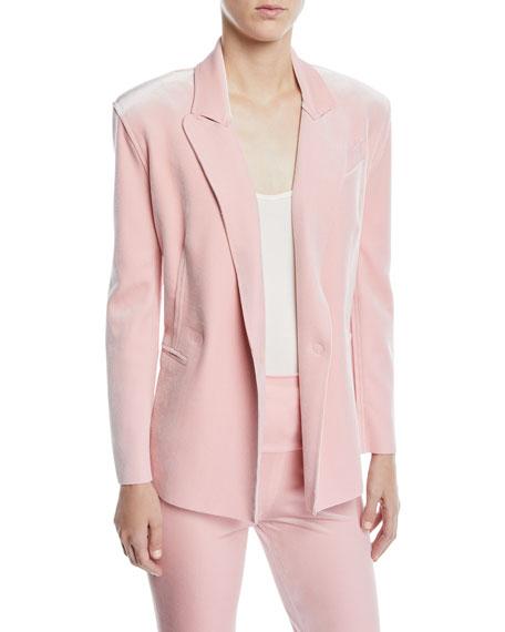 Norma Kamali Velvet Double-Breasted Jacket, Dusty Pink