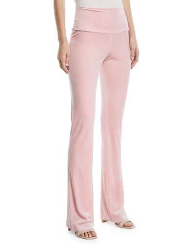 Velvet Pull-On Boot Pants, Dusty Pink