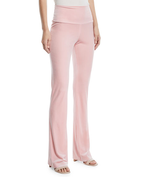 Norma Kamali Velvet Pull-On Boot Pants, Dusty Pink