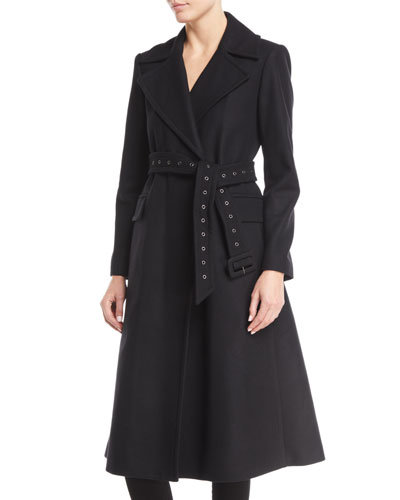Bria Perfect Belted Long Wool Coat