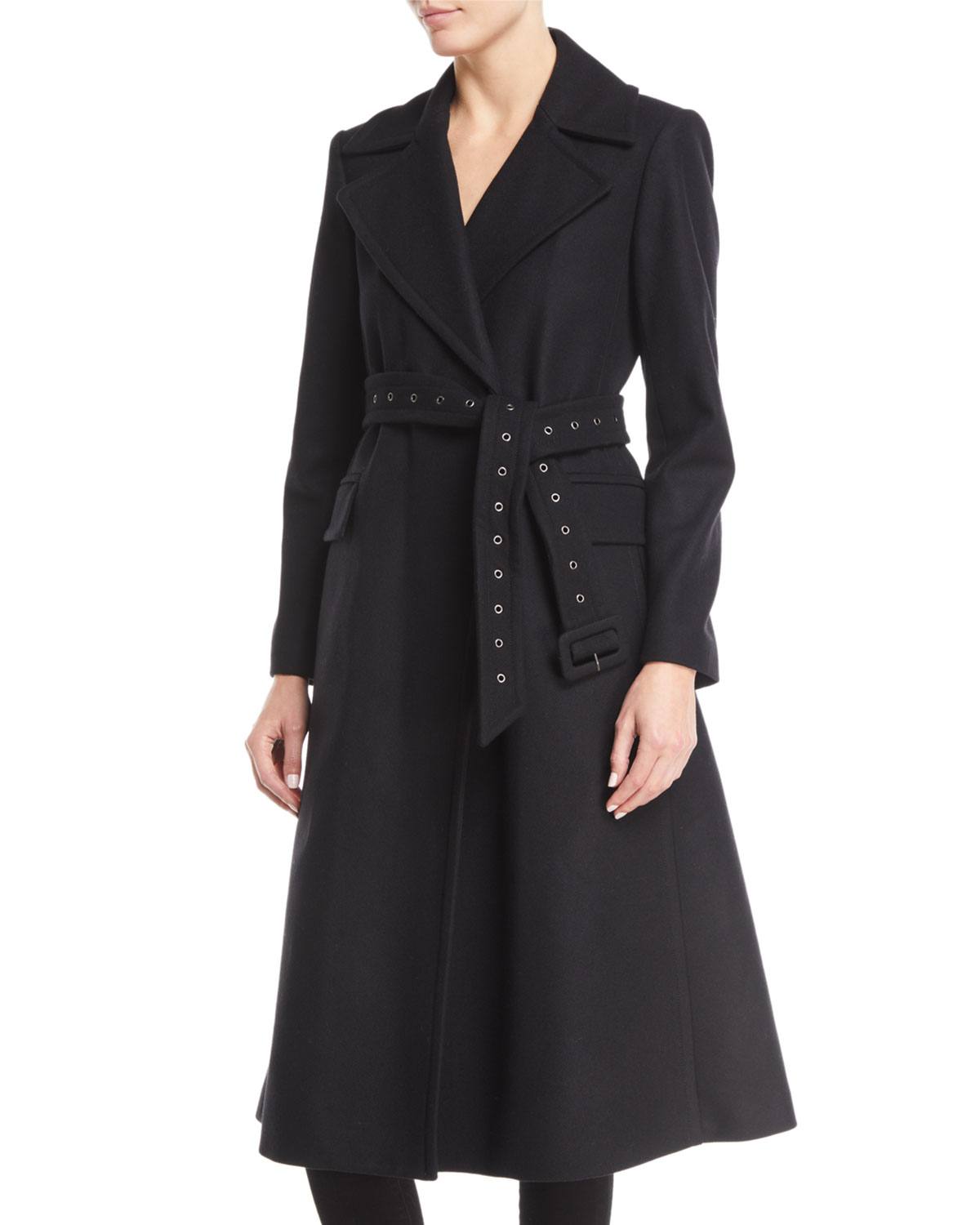 Bria Perfect Belted Long Wool Coat by Theory