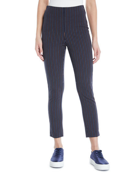 Striped Cropped Cotton Leggings in Midnight Multi