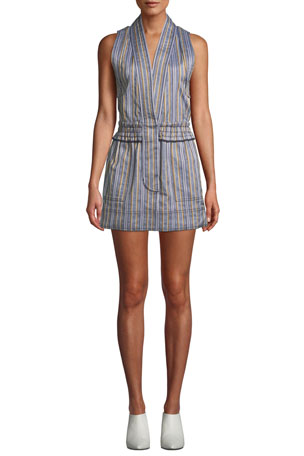 Derek Lam 10 Crosby Striped Sleeveless Vest Mini Dress