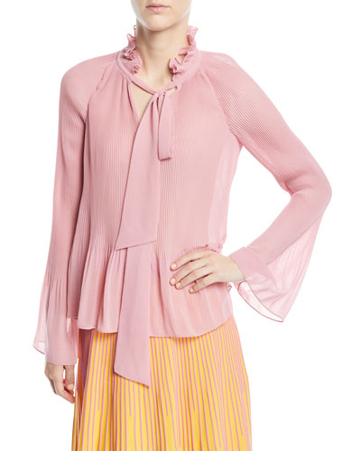 Long-Sleeve Pleated Blouse With Ties