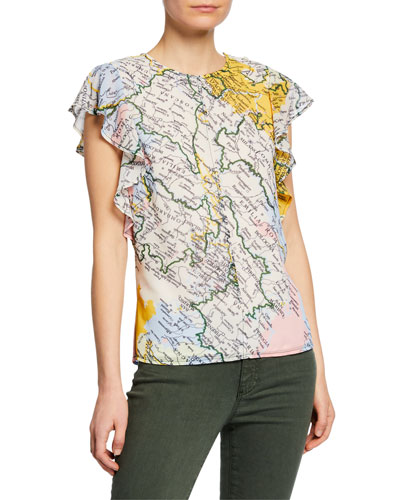 Derek Lam 10 Crosby Ruffle Sleeve Map Crewneck Top