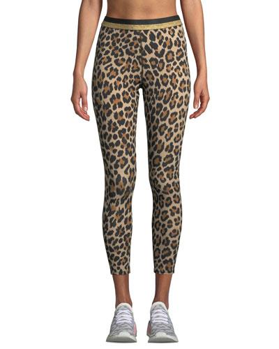 leopard-print cropped leggings with metallic stripe