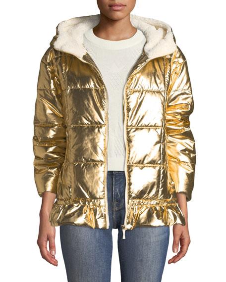 metallic puffer jacket with sherpa lining