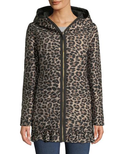 reversible leopard-print parka jacket