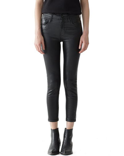 Sophie High-Rise Skinny Leatherette Cropped Jeans