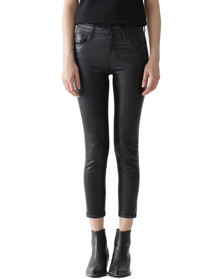 AGOLDE SOPHIE HIGH-RISE SKINNY LEATHERETTE CROPPED JEANS