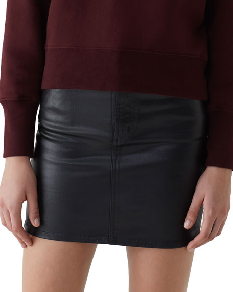 AGOLDE Lydia 5-Pocket Mini Skirt With Leatherette Coating in Black