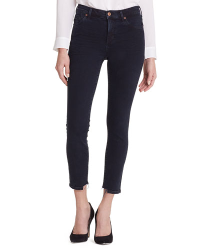 Rocket Cropped High-Rise Jeans with Chewed Hem