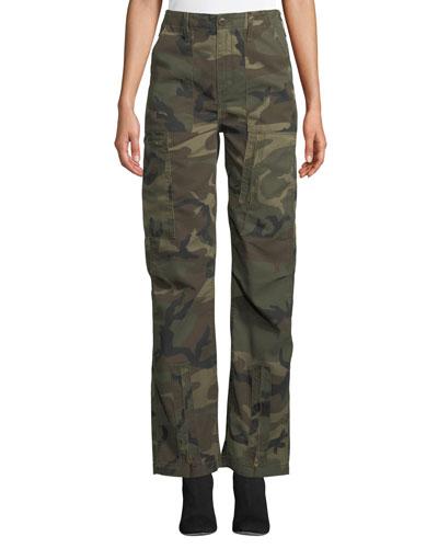High-Waist Camo-Print Cargo Pants