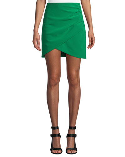 Fidela Draped Crepe Mini Skirt