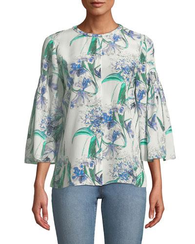 Becca Flower-Print Silk Blouse