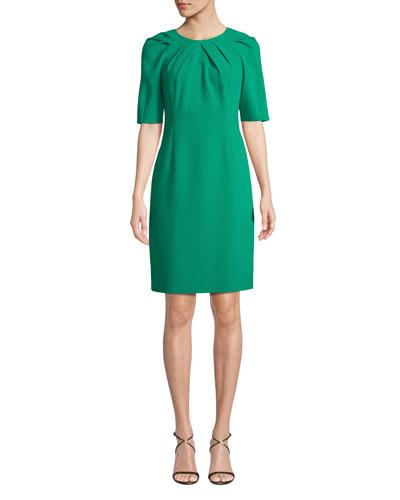 Taylor Short-Sleeve Tucked Sheath Dress