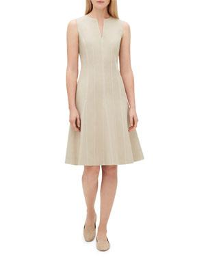 55f83db4963b Lafayette 148 New York Rochelle Split-Neck Sleeveless Bi-Stretch Dress