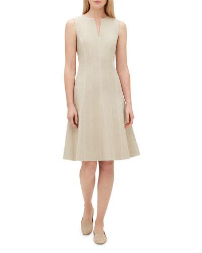 Rochelle Split-Neck Sleeveless Bi-Stretch Dress