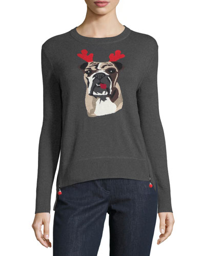 Holiday Bulldog Cashmere Sweater  Petite