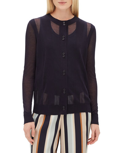 Crewneck Long-Sleeve Sheer Striped Voile Cardigan