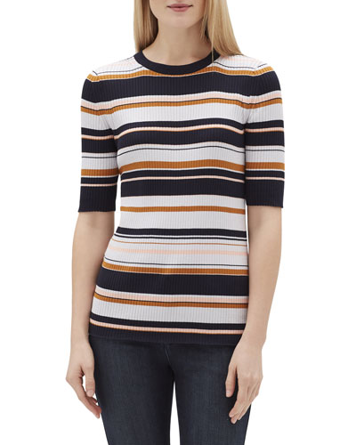 Striped Crewneck Short-Sleeve Rib-Knit Top