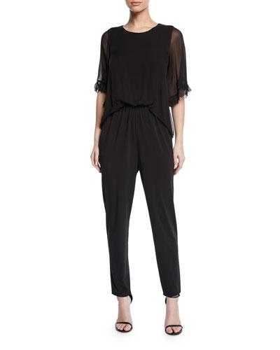 Doria Sheer-Sleeve Jumpsuit
